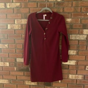 Francesca's Red Sweater Dress w Button V Neck